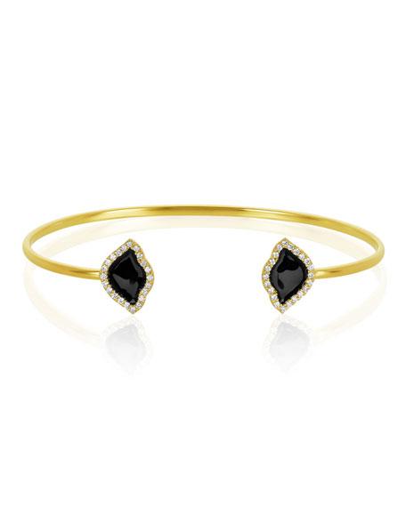 18k Gold Nalika Lotus Cuff Bracelet w/ Diamonds & Black Enamel, 0.374tcw