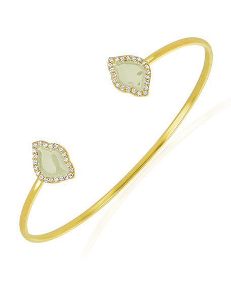 18k Gold Nalika Lotus Cuff Bracelet w/ Diamonds & White Enamel, 0.374tcw