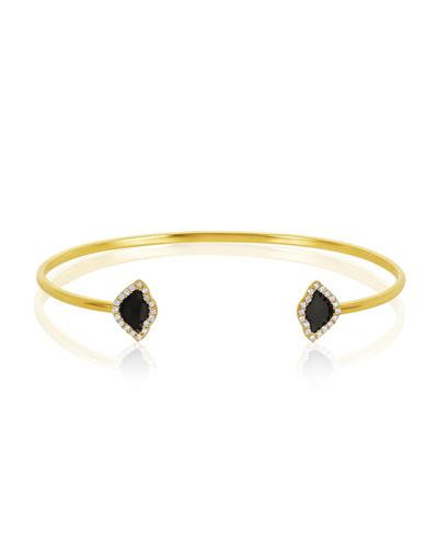 18k Gold Kamalini Lotus Cuff Bracelet w/ Diamonds & Black Enamel, 0.2248tcw
