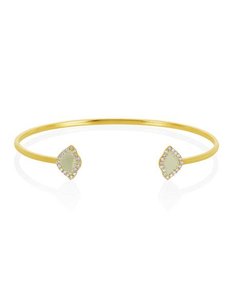 18k Gold Kamalini Lotus Cuff Bracelet w/ Diamonds & White Enamel, 0.2248tcw