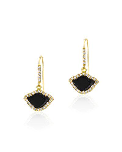 18k Gold Nalika Lotus Drop Earrings w/ Diamonds & Black Enamel