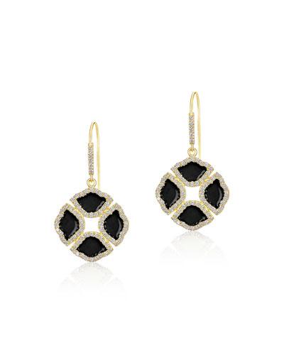 18k Gold Mini Manjari Lotus Drop Earrings w/ Diamonds & Black Enamel