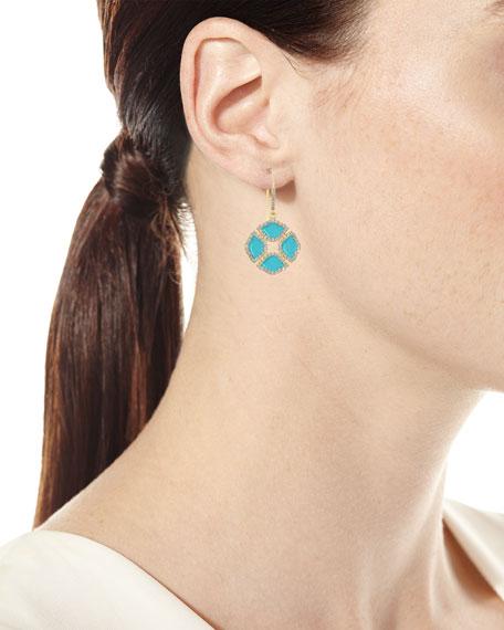 18k Gold Mini Manjari Lotus Drop Earrings w/ Diamonds & Turquoise Enamel