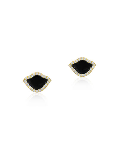 18k Gold Nalika Lotus Stud Earrings w/ Diamonds & Black Enamel