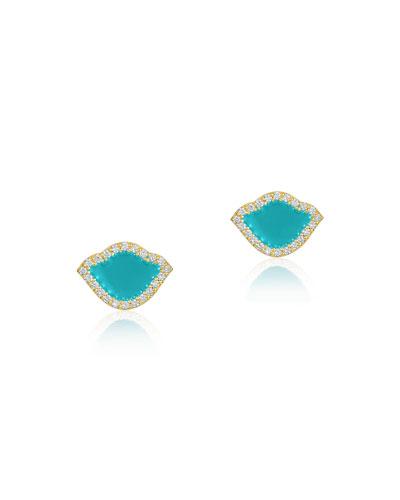 18k Gold Nalika Lotus Stud Earrings w/ Diamonds & Turquoise Enamel