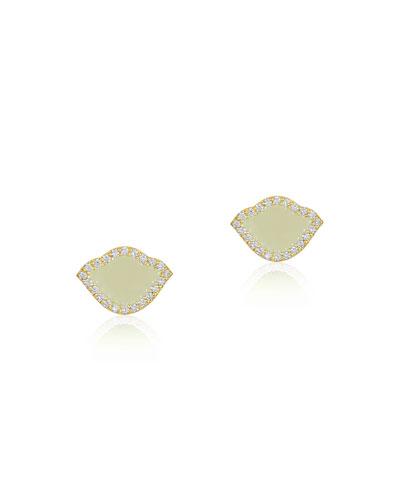 18k Gold Nalika Lotus Stud Earrings w/ Diamonds & White Enamel
