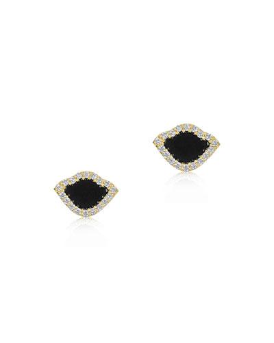 18k Kamalini Lotus Stud Earrings w/ Diamonds & Black Enamel, 0.2448tcw