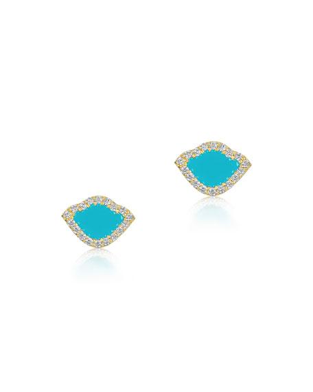 18k Kamalini Lotus Stud Earrings w/ Diamonds & Turquoise Enamel, 0.2448tcw