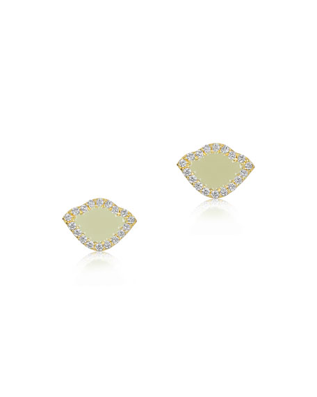 18k Kamalini Lotus Stud Earrings w/ Diamonds & White Enamel, 0.2448tcw