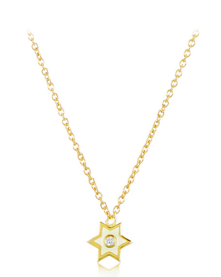 18k Gold Mini Enamel Icon Star Pendant Necklace w/ Diamond, White