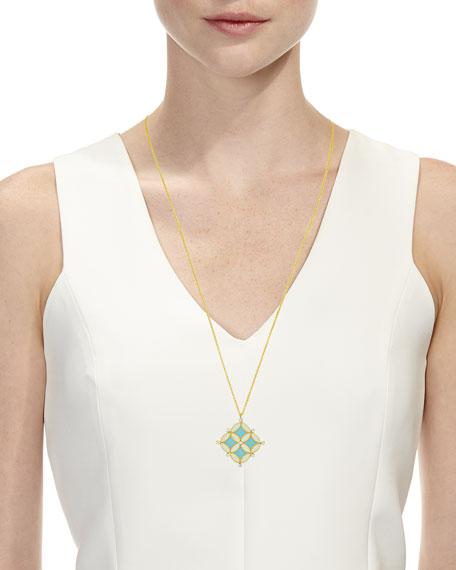 "18k Gold Enamel Mosaic Pendant Necklace, 28"""