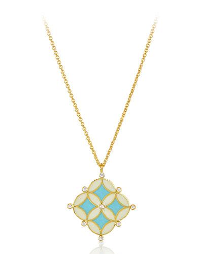 18k Gold Enamel Mosaic Pendant Necklace, 28