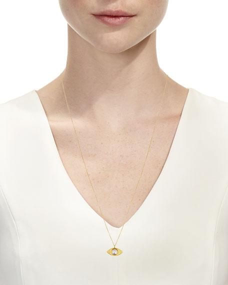 """18k Kundan Vintage Evil Eye Pendant Necklace, 24"""""""