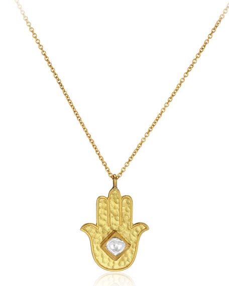 "18k Gold Kundan Vintage Hamsa Pendant Necklace, 24"""