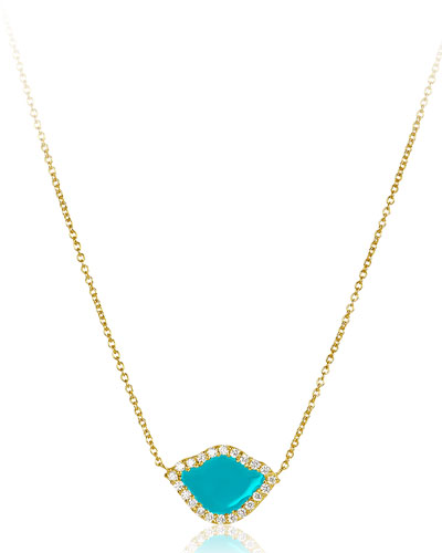 18k Gold Nalika Lotus Necklace w/ Diamonds & Turquoise Enamel, 16