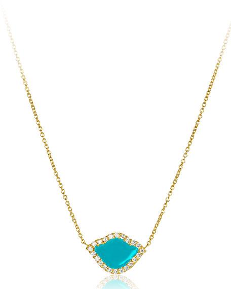 "18k Gold Nalika Lotus Necklace w/ Diamonds & Turquoise Enamel, 16"""