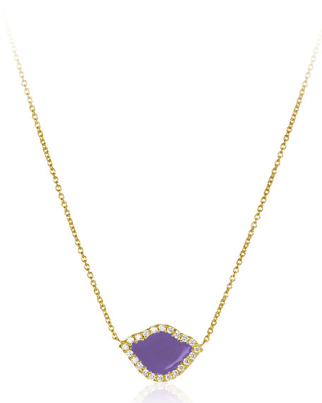 18k Gold Nalika Lotus Necklace w/ Diamonds & Violet Enamel, 16""