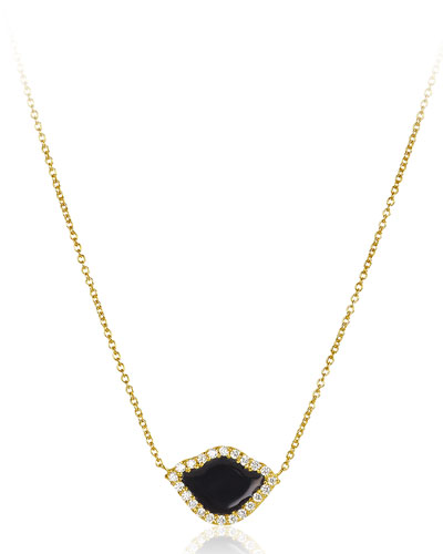 18k Gold Nalika Lotus Necklace w/ Diamonds & Black Enamel, 16