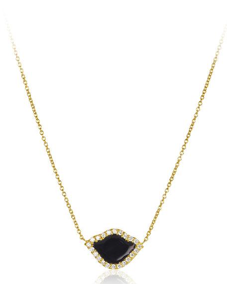 "18k Gold Nalika Lotus Necklace w/ Diamonds & Black Enamel, 16"""