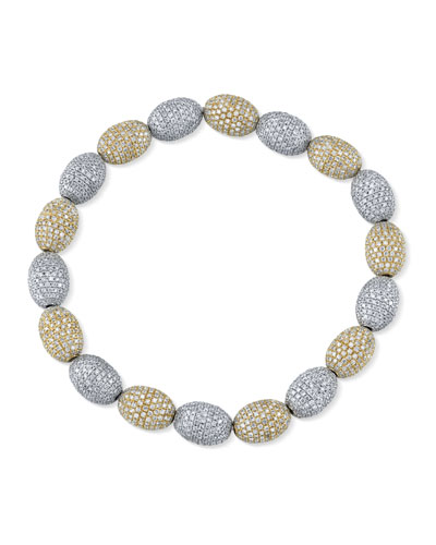 14k Two-Tone Diamond Bead Bracelet