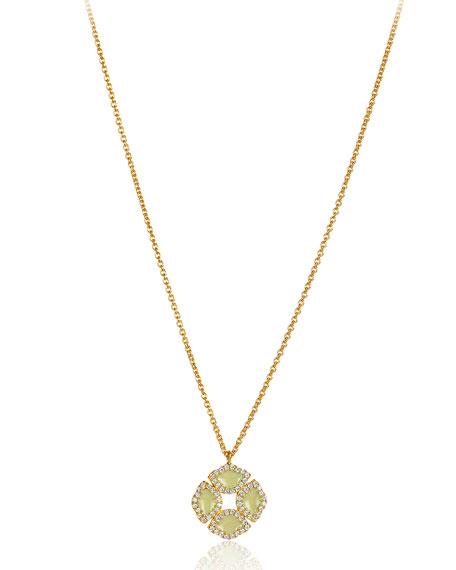 "18k Gold Mini Manjari Lotus Necklace w/ Diamonds & White Enamel, 32"""