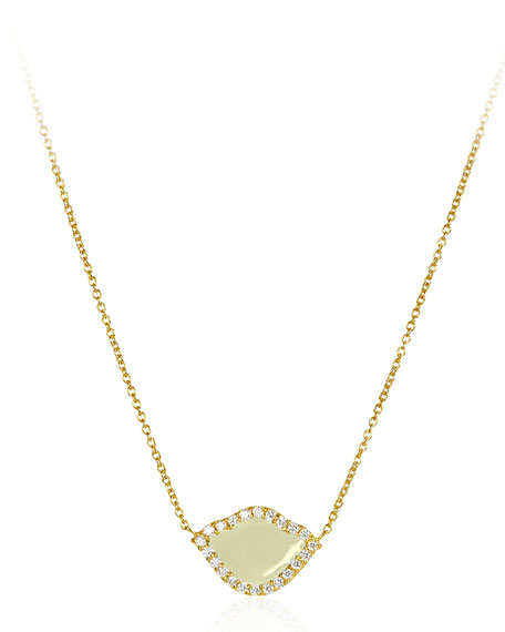 18k Gold Nalika Lotus Necklace w/ Diamonds & White Enamel, 16""