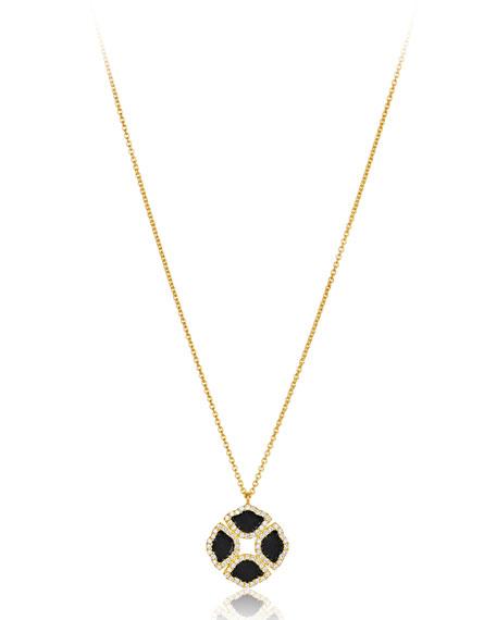 """18k Gold Manjari Lotus Black Enamel Necklace w/ Diamonds, 36"""""""