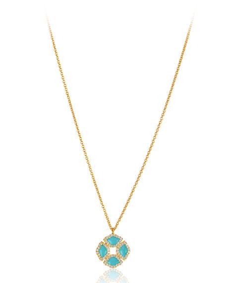 """18k Gold Manjari Lotus Necklace w/ Diamonds & Turquoise Enamel, 32"""""""