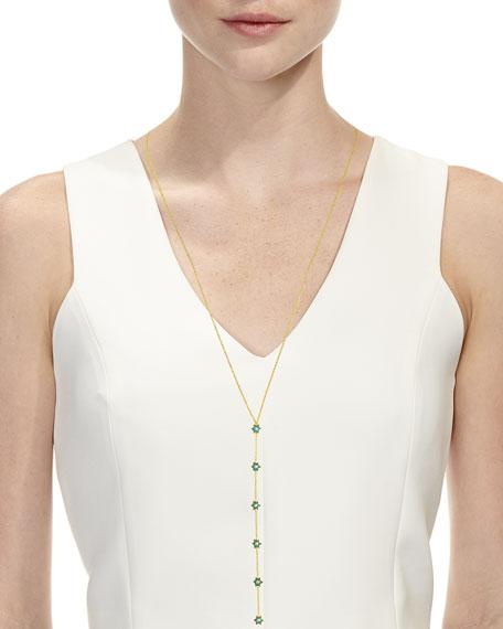 """18k Gold Mini Icon Y-Necklace w/ Diamonds & Turquoise Enamel, 24"""""""