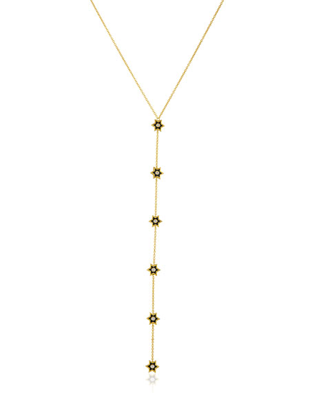 18k Gold Mini Icon Y-Necklace w/ Diamonds & Black Enamel, 24""
