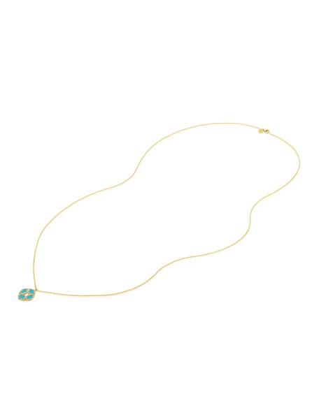 """18k Gold Manjari Lotus Necklace w/ Diamonds & Turquoise Enamel, 36"""""""