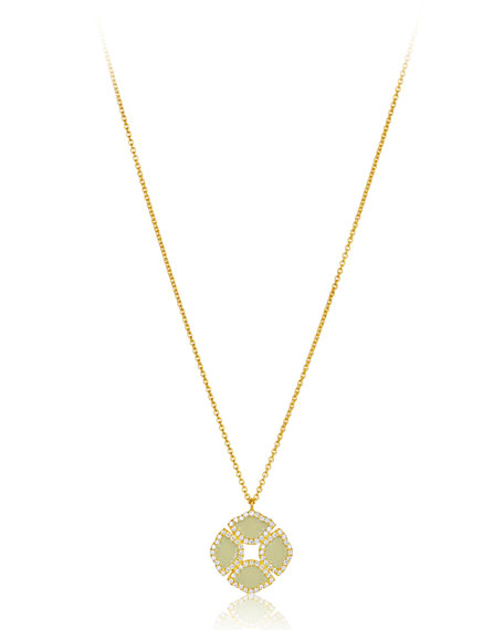 18k Gold Manjari Lotus Necklace w/ Diamonds & White Enamel, 36""