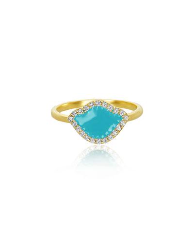 18k Gold Nalika Lotus Stack Ring w/ Diamonds & Turquoise Enamel