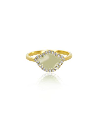 18k Gold Nalika Lotus Stack Ring w/ Diamonds & White Enamel
