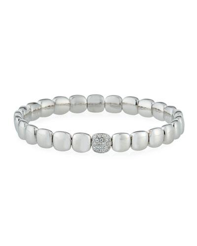 18k White Gold Stretch Bracelet w/ Diamond Station
