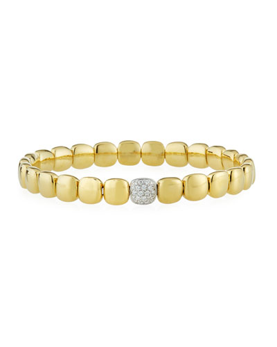 18k Yellow Gold Stretch Bracelet w/ Diamond Station