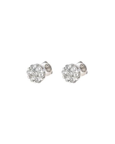 18k White Gold Diamond Flower Stud Earrings, 1.33tcw