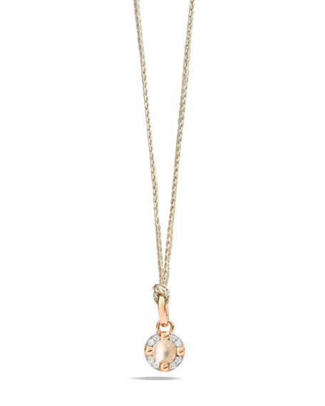 M'ama Non M'ama Pendant Necklace in Rose Gold with Moonstone & Diamonds