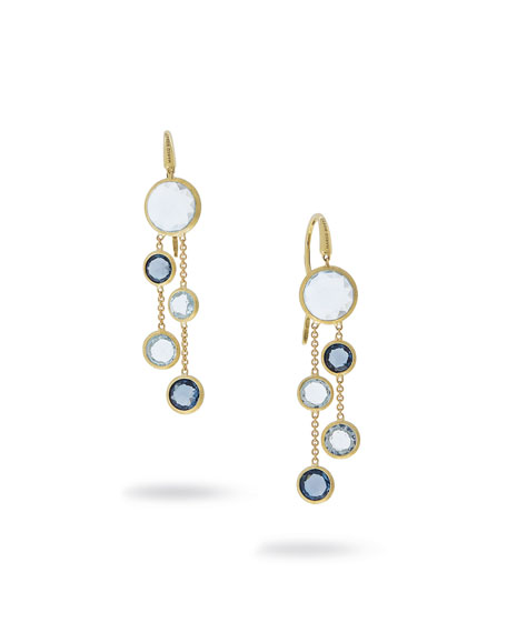 18k Jaipur Blue Topaz Dangle Earrings