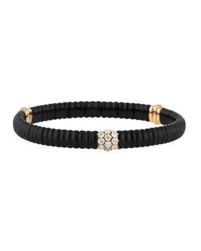 18k Rose Gold Black Ceramic & Diamond Bracelet