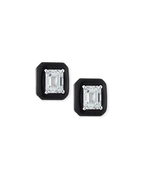 18k Oui Diamond & Black Enamel Octagonal Stud Earrings