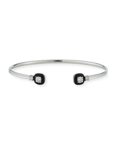 18k Oui Double Diamond & Black Enamel Bracelet