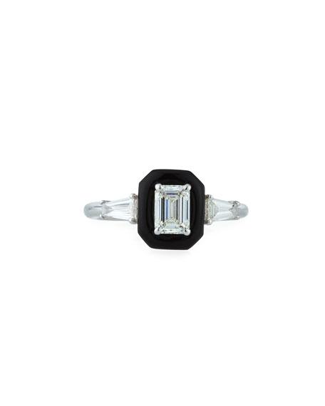 Oui 18k White Gold Diamond & Black Enamel Solitaire Ring, Size 6.5