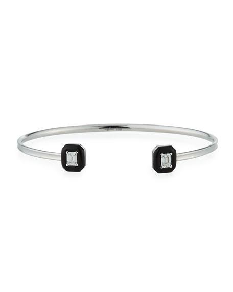 Oui 18k White Gold Diamond & Black Enamel Octagon Bangle Bracelet