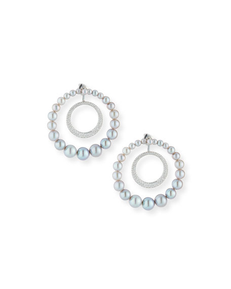 18k Lingerie Pearl & Diamond Hoop Earrings