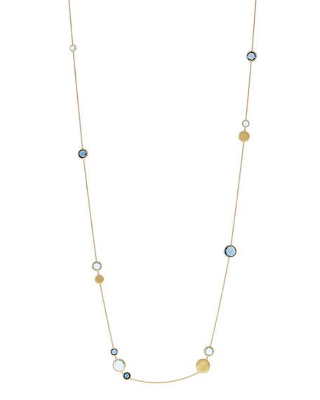 """18k Jaipur Blue Topaz Station Necklace, 36""""L"""