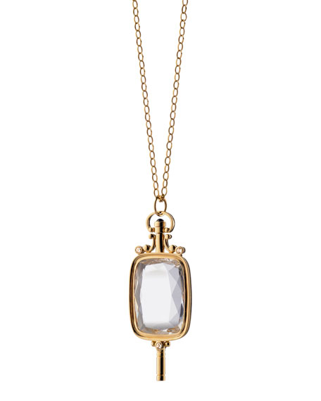 Pocket Watch Key Rock Crystal Necklace