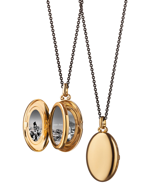 cc75a7fdf6393 Monica Rich Kosann Midi 18k Gold Oval Locket Necklace