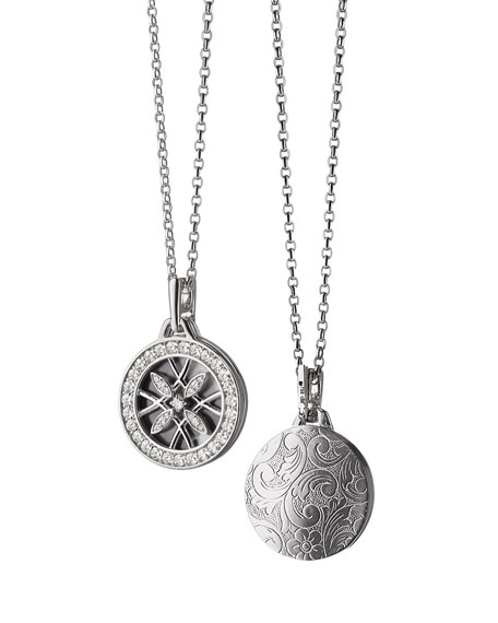 18k White Gold & Diamond Gate Locket Necklace