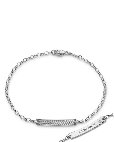Petite Poesy Diamond ID Bracelet in 18K White Gold